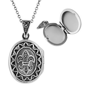 MARCASITE FLEUR DE LYS OVAL LOCKET ON CHAIN STERLING SILVER FROM ARI D NORMAN