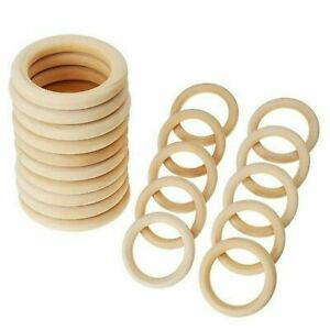 10/20x Baby Newborn Natural Round Wood Teething Ring Wooden Teether Toy DIY Gift
