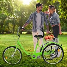 24inch 3-Wheel Unisex Adult Tricycle Trike Bicycle Cruise 7-Speed Basket Green