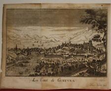 GENEVA SWITZERLAND 1748 THOMAS SALMON ANTIQUE ORIGINAL COPPER ENGRAVED CITY VIEW