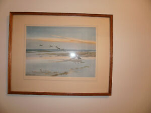 """Framed Peter Scott signed print entitled """" Bean Geese on the Saltings"""""""