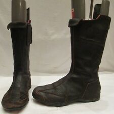 DKNY DARK BROWN LEATHER MID HEIGHT ZIP UP BOOTS UK 5.5 USA 8 (S)