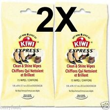 2X Kiwi Express Shine Clean Wipes for Leather & Vinyl Disposable 15 per pack