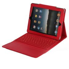 Red Bluetooth Keyboard Leather Case for Apple iPad 3 (New One) iPad 2 2nd 3rd
