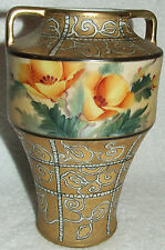 ANTIQUE ODD SHAPED NIPPON MORIAGE HAND PAINTED YELLOW FLOWERS GOLD & SWIRL VASE