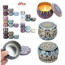 6Pcs Vintage Printed Empty Metal Tin Jars Storage Case Candle Making Containers