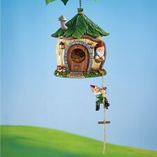 Wooden-Styled Finish Gnomes Hanging Home Hanging Functional Garden Birdhouse