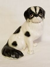 Vintage Pekingese Dog Figurine Black/white Collectible statue
