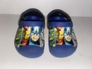 CROCS Avengers Toddler Boys Slip On Blue Clogs Shoes Size 4/5