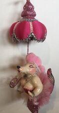 Katherine's Collection Burlesque Fifi Poodle Dog Pink Umbrella Ornament NOS