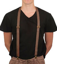 Suspenders Brown Steampunk Faux Leather Retro Adult Halloween Costume Accessory