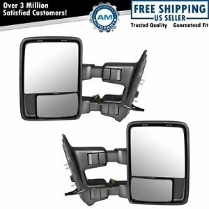 Towing Mirrors Power Heated Chrome Pair Set For 03-07 Ford F250 F350 F450 F550