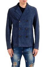 Malo Men's 100% Suede Leather Double Breasted Blazer Sport Coat US 40 IT 50