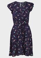 Ex Chainstore Navy Floral Print Maxi Dress Long Summer Crochet Size 8-22