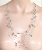 COLLANA LUNGA donna argento CRISTALLI fili strass elegante cerimonia collier 535
