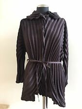 New with Tags $1,735 ISSEY MIYAKE Brown Pleated  Top Blouse, Size 2