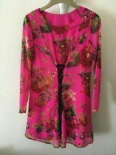 Retro Style Long Sleeve Pink Floral  Chiffon  Tunic Dress  Size 10  by ASOS