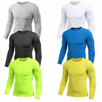 Men's Compression Base Layer Long Sleeve Plain Shirts Breathable Spandex Running