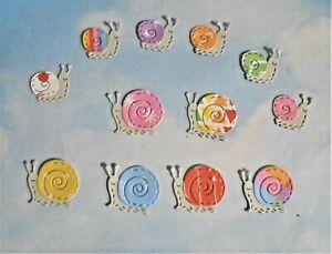 Die cut embossed mini snail garden creature critter multi coloured x 12