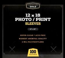 Pack of 100 Cardboard Gold 12x18 Crystal Clear Soft Poly Photo/Print Sleeves