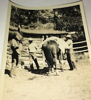 Rare Antique Vintage Western American Cowboys Packing Horse Snapshot Photo! US!