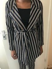 dorothy perkins navy pin striped two piece suit