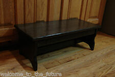 """Handcrafted Heavy Duty Step Stool, 24"""" L, Wood Kitchen Bedside, Black or custom"""
