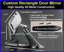 Lincoln Rectangle Exterior Rearview Door Mirror w/ Gaskets & Screws Chrome