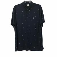 Izod Golf Mens Blue Dri Fit Polo Short Sleeve Button Down T Shirt Size 2XL