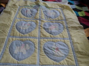 Handmade Baby Quilt Hearts and Animals 36 X 42 Needs to be finished