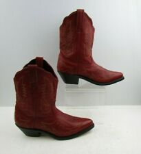 Ladies Red Leather Round Toe Western Cowgirl Boots Size : 8.5 M