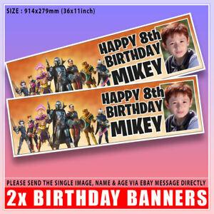 "Personalised PHOTO Fortnite Mandalorian Birthday Banner x2 Any Age Name 36x11"""