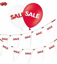 SALE Bundle of White Bunting Banner and 8 Assorted Red & White Latex Balloons
