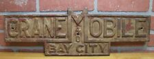 BAY CITY CRANE MOBILE Old Embossed Cast Iron Plaque Sign Equipment Nameplate