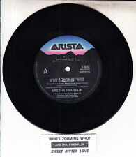 "ARETHA FRANKLIN  Who's Zoomin' Who 7"" 45 rpm vinyl record + juke box title strip"