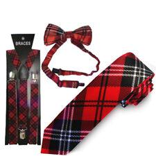 School Girl Burns Night Tartan Unisex Fancy Dress Red Tartan Tie Braces Bow Tie