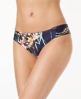 Trina Turk Women's Navy Shirred Side Hipster Pant Bikini Swimsuit Bottom Size 4