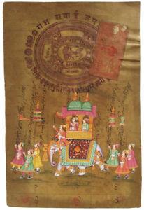 Indisches Gemälde MOGHUL Miniaturmalei Steinfarben org Stempel Rajasthan Elefant