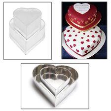 """2 TIER valentine's HEART WEDDING CAKE TINS  8"""" 12"""""""