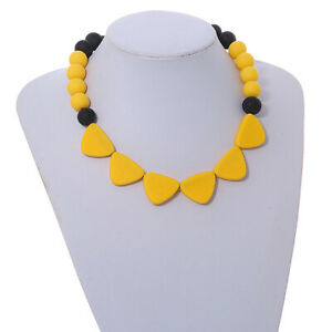 Yellow/ Black Resin Bead Geometric Cotton Cord Necklace - 44cm L - Adjustable