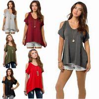 Damen schulterfrei Shirt T-Shirt Shirts TOP Oberteil Bluse S-5XL lässig BC476