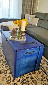 Wooden Rustic Blanket Box Vinyl Storage Box 12 Colours Available