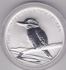 2007 Australia plata Kookaburra en rama 1oz. cabeza izquierda en una cápsula