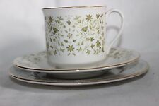 Vintage Royal Doulton Westfield Tea Cup Saucer Sideplate Trio Green Floral