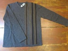 ISDA & Co Men's Gray Sweater Pullover Striped Charcoal Vee Neck Lambswool NEW