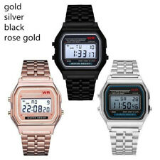 4 Color LED Digital Business Stainless Steel Strap Ultra Thin Alarm Wrist Watch