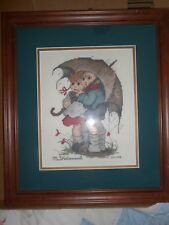 """FINISHED FRAMED MATTED COUNTED CROSS STITCH """"STORMY WEATHER"""" HUMMEL"""