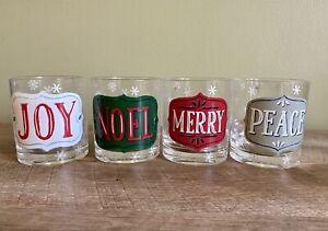 Acrylic Plastic Noel Joy Merry Peace 4 Winter Christmas Drinking Glasses Tumbler