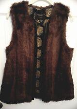 Womens Vest Medium Sanctuary Brown Faux Fur Vegan Leather Anthropologie NWT
