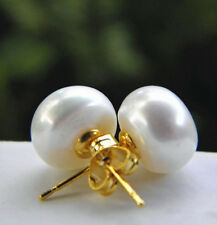 Wholesale 6-13mm Real Natural Akoya Cultured Pearl 14K Gold GP Stud Earrings AAA